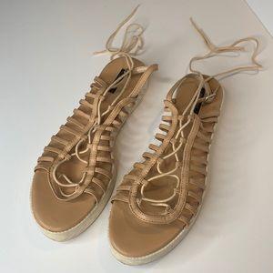 Zara tan leather strappy lace-up Greek sandals